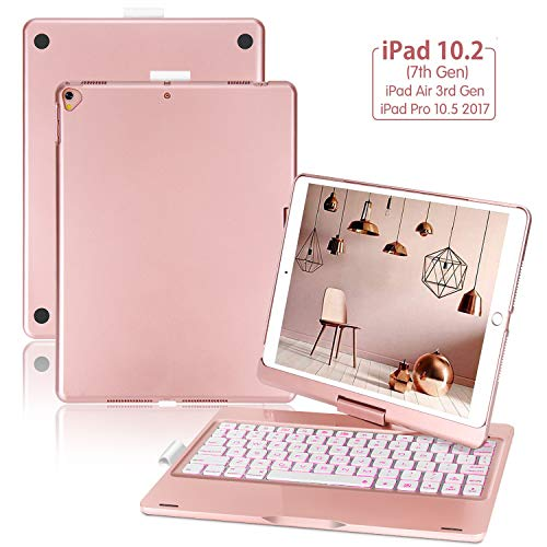 """ONHI Wireless Keyboard Case for iPad 10.2 7th Generation 2019, iPad Air 3 10.5""""(3rd Gen) and iPad Pro10.5"""" 2017,360 Rotatable-7 Colors Back-lit, Smart Folio Back Wireless Keyboard Case(Rose Gold)"""