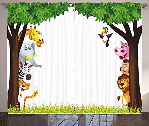 ABAKUHAUS Kindergarten Rustikaler Vorhang, Bäume freundlicher Dschungel, Wohnzimmer Universalband Gardinen mit Schlaufen und Haken, 280 x 225 cm, Mehrfarbig