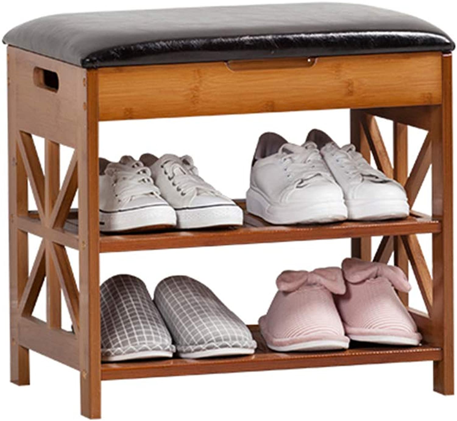 Multi-Layer Practical Space Saving Storage Solid Wood 2-Tiers shoes Bench Storage Hallway shoes Rack with Black PU Seat Cushion Bamboo Flip Cover Change shoes Stool - 3 Sizes for Home & Commercial
