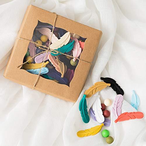 let's make DIY Silikon Zahnen Perlen Baby Pflegezubehör Kit 100pc helle Farbe Silikon Feder Perle BPA frei Halskette machen Mutter Geschenk