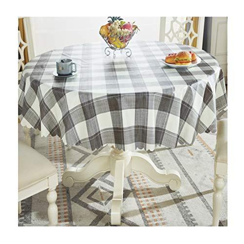 William 337 Mantel Redondo PVC Estilo Europeo Pequeño Enrejado Fresco Restaurante Doméstico Impermeable Mantel A Prueba de Aceite Fácil Limpiar Manteles Marrones (Color : B, Size : Round-200cm)