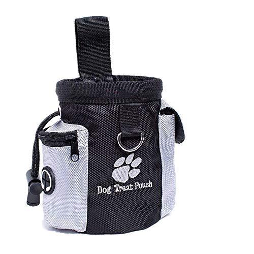 VOARGE Futterbeutel für Hunde, Tragbarer Imbissbeutel, Lebensmitteltasche, Eingebautem Poop Tasche Spender, Futtertasche Leckerlitasche Snack Bag mit Clip Futtertasche für Hundetraining und Ausbildung