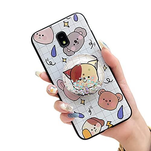 Funda suave para Samsung Galaxy J7 2018/J6 US, con función atril antigolpes y antigolpes para niñas, soporte líquido con estrellas y deriva de arena, funda suave original, Grid Pets