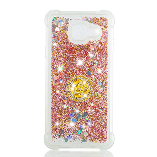 ZCXG Kompatibel Mit Handyhülle Samsung Galaxy A3 2016 Hülle Silikon Transparent Glitzer Stoßfest Slim Liquid Hülle mit Ring Strass Diamant Kratzfest Flexibles Schutzhülle TPU Bumper Case,Gold