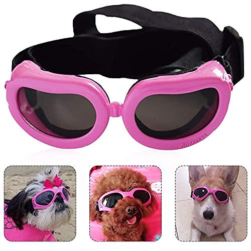 Gafas de Perro Mascotas, Gafas de Sol para Perros, Ajustables para Gafas Perros, Gafas Perros Protección UV, con Protección Impermeables, Cortavientos y con Efecto Antivaho