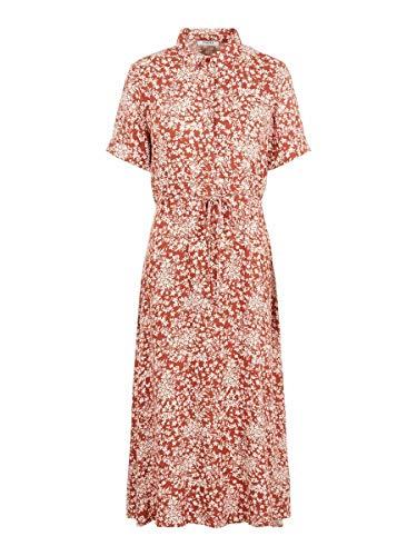 PIECES Damen PCANGILICA SS MIDI Dress Kleid, AOP:Boho Flowers Chili Oil, XS
