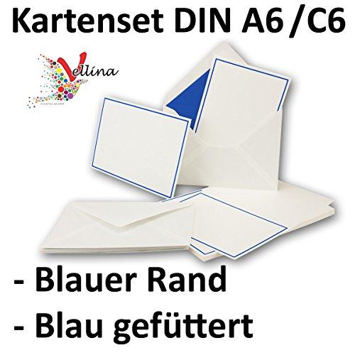 Neuser Einladungskarten inklusive Briefumschläge - 25er-Set - hochwertige Postkarten in Weiß mit abgesetztem blauem Rand - Exklusive Gruß-Karten & Kuverts in DIN A6 & C6 Format für besondere Anlässe