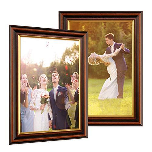 PHOTOLINI 2er Set Bilderrahmen 21x30 cm/DIN A4 Antik Dunkelbraun mit Goldkante Massivholz mit Glasscheibe inkl. Zubehör