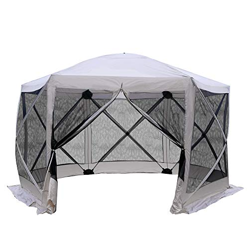 Outsunny 12' x 12' 6-Sided Hexagon Hub Gazebo Screen Tent with Mesh Netting Walls & Shaded Interior, Beige and Black