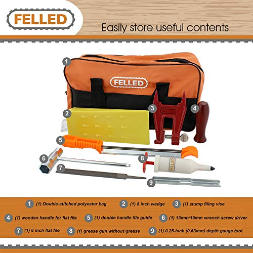 Felled Chainsaw Sharpening Kit with Chainsaw File Set, Guides, Depth Gauge Tool, Stump Filing Vise, Grease Gun, Wedge