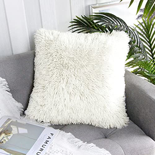 Uhomy Home Decorative Super Soft Luxury Series Plush Faux Fluffy Fur Throw Pillow Cover Cushion Case for Sofa/Bed. 20x20 Inch 50x50 cm, Cream, Single Pack