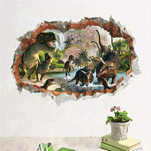 Pqnlub 3D Wall Sticker Cartoon Movie 3D Dinosaur Dynamic Wall Sticker