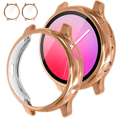 [2Pack] Tensea Compatible with Samsung Galaxy Watch Active 2 Screen Protector Case 40mm, Bumper Full Around Cover for Samsung Galaxy Watch Active2 40 (Rose Gold, 40mm)