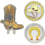 Giggle Golf Western Cowboy Boot Golf Ball Marker Pack   Includes One Cowboy Hat & One Horseshoe Bling Ball Marker