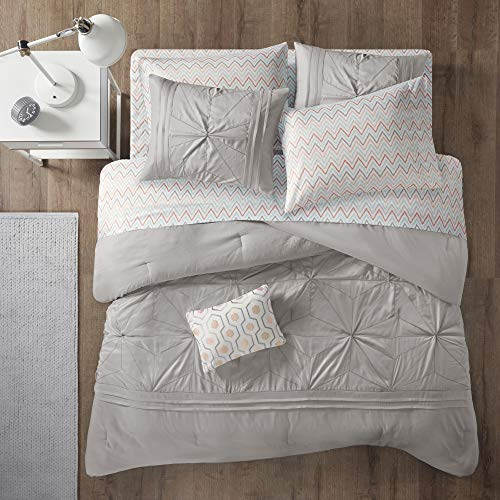 Intelligent Design Toren Tufted Embroidered Comforter with Sheet, Season Bedding Set, Twin, Grey