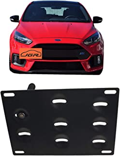 JGR Racing Car No drill Tow Eye Front Bumper Tow Hole Hook License Plate Mount Bracket Holder Adapter Relocation Kit For 2016 2017 2018 Ford Focus RS