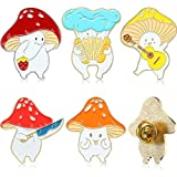 Lot de 5 épingles en émail en forme de champignon, motif dessin animé, plantes, bijoux pour sac à dos, vêtements, chapeaux, décoration, 5 styles
