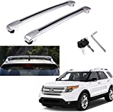 MotorFansClub Luggage Rack Roof Rack Cross Bar Fit for Compatible with Ford Explorer 2012 2013 2014 2015 Top Roof Rack Rails, Silver US Stock
