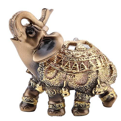 Golden Polyresin Estatua de elefante Escultura Tronco Riqueza Afortunada Coleccionable Estatuilla Regalo Decoración para el hogar Feng Shui Ornamento(M)