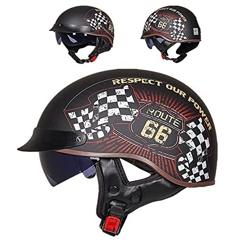 Casco Retro De Motocicleta Harley Casco,Unisex Ertificación DOT/ECE Casco Jet Con Lente Incorporada,Casco Jet Casco Abierto Con Visera Solar (Skeleton Emperor,L(59-60cm))