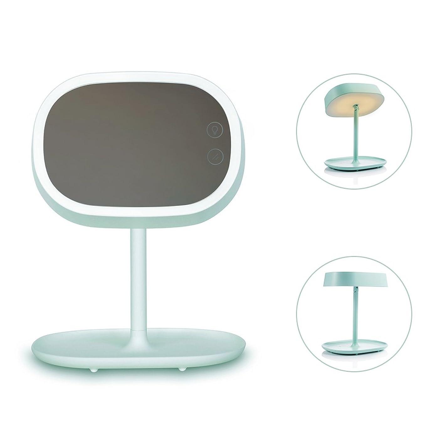 ライド縫う怖がって死ぬIchic 卓上LED化粧鏡 メイクミラー ベッドサイドランプ 180度回転 明るさ調節可能 USB充電