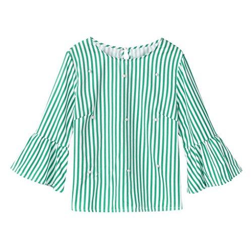 Top Femmes Toamen Femmes Haut rayé à manches longues décontractés T-Shirt Haut de perles Mode (M, vert)