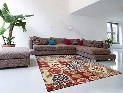 Tappeto Kilim Persiano Geometrico Moderno Rosso e Beige di Alta qualità | 160 x 230 cm