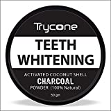 Trycone Coconut Shell Activated Charcoal Instant Teeth Whitening Powder,SLS and Fluoride Free,100% Natural