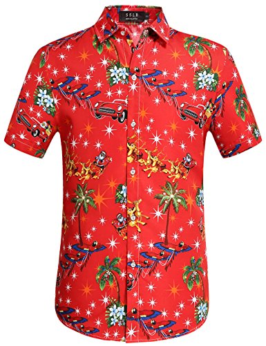 SSLR Men's Santa Claus Holiday Party Hawaiian Ugly Christmas Shirts (Medium, Red)