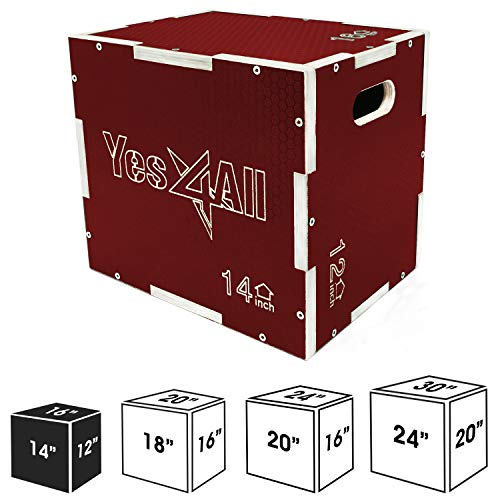 """Yes4All Non-Slip Wooden Plyo Box 16"""" 14"""" 12"""" - Red"""