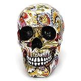 AOLVO Halloween Calavera Mexicana Figura de Resina Flores Craneo Decorativas Modernas