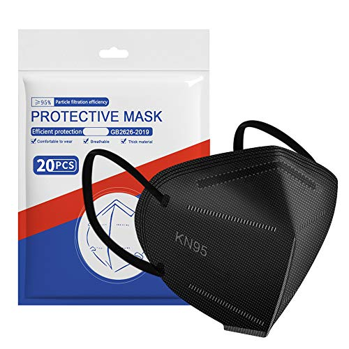 ApePal 5-Layer Disposable KN95 Face Masks Wide Elastic Ear Loops Safety Face Mask,Black,20 PCS/pack