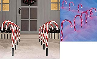 Pre-lit Candy Cane Pathway Markers Stakes 10' Tall (Set of 8)