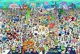 WUJINJ Varios creativa Animal Cognition dibujos animados rompecabezas, Bob Esponja Rompecabezas de madera, la decoración casera moderna Pintura DIY juega montado, Educación descompresión Ocio Rompecab
