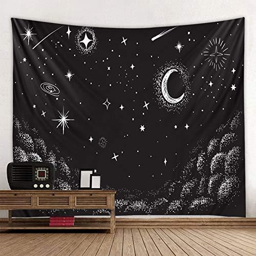 QAWD Blanco Negro Sol Luna Tapiz Mandala Tarot Colgante de Pared Celestial Hippie Fondo Tela Manta Tela Colgante A17 150x200cm