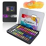 Honmax Pintura de Acuarela, 48 Colores Juego de Pintura de Acuarela, Acuarela sólida de Alta Pigmentación para Principiantes y Profesionales.