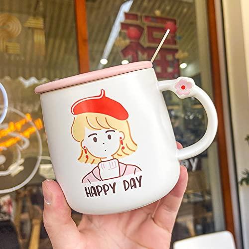 Pareja de dibujos animados taza de café de cerámica taza de agua 420ml W