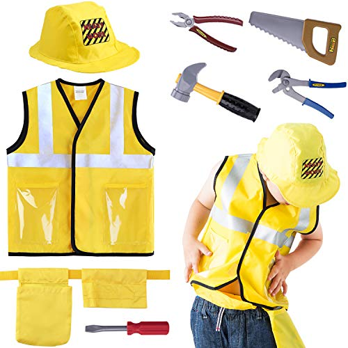 iPlay, iLearn Construction Worker Costume Role Play Kit Set, Engineering...
