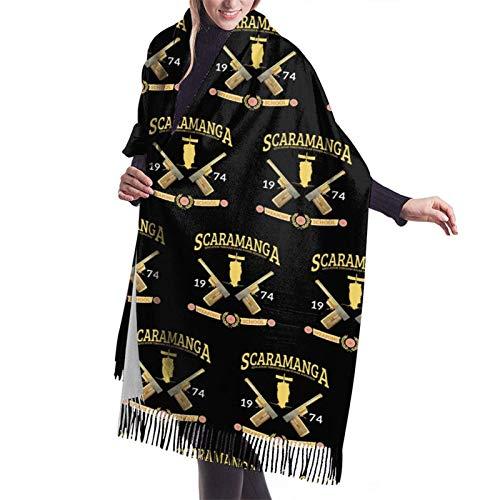 Yuanmeiju Bufanda larga de moda para mujer James Bond Scaramanga Weapons School Ladies Soft Large Cashmere Blend Scarf Warm Cashmere Skirt Elegant Shawl Wrap
