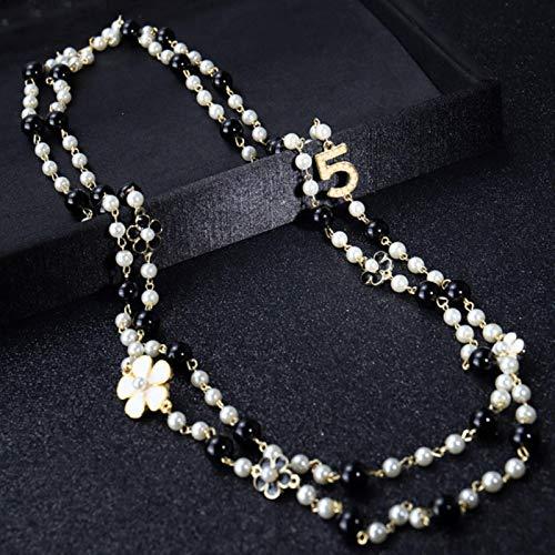 WDam Mujeres Colgantes Largos Collar de Perlas en Capas Collares de Moda Número 5 Joyería de Fiesta de Flores