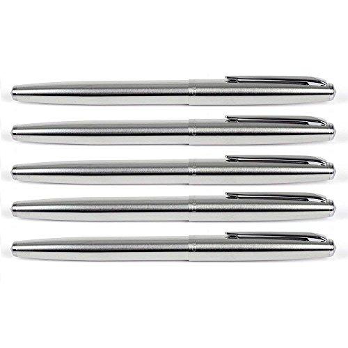 Plumas estilográficas de acero inoxidable Gullor 5 piezas, plumín EF, estilográficas clásicas con convertidores de tinta
