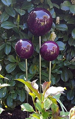 garten-wohnambiente Rosenkugel 20 cm mit Marmor violett Gartenstecker Dekokugel Dekorationskugel K
