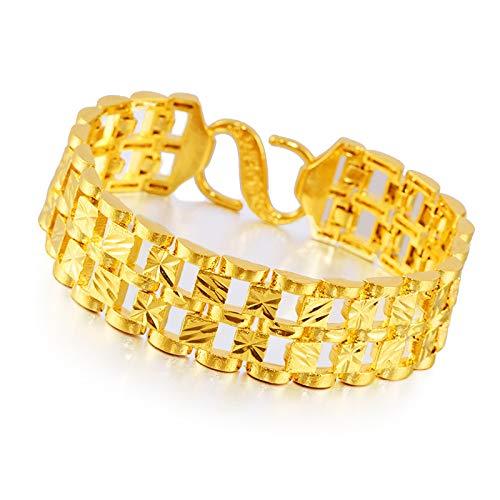 Boutique - Cadena de reloj de pulsera chapada en oro de Vietnam para hombre, chapada en oro 999 con hebilla grande