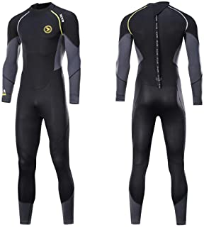 zcco Ultra Stretch 3mm Neoprene Wetsuit, Back Zip Full Body Diving Suit, one Piece for Men-Snorkeling, Scuba Diving Swimmi...