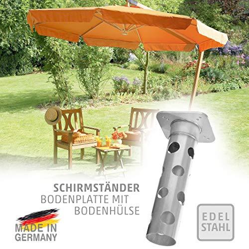 4smile Edelstahl Bodenhülse mit Bodenplatte – Sonnenschirm-Halter stolperfrei und sicher – Sonnenschirmständer mit Boden-Anker zum Einbetonieren – Made in Germany