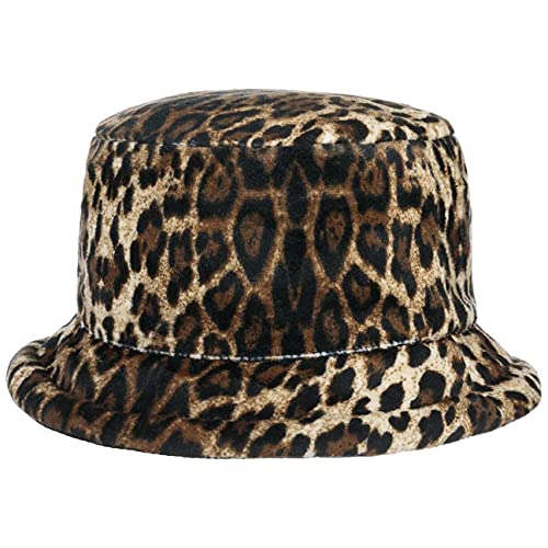 LIPODO Sombrero Reversible con Diseño Leopardo Mujer - de Pescador Forro otoño/Invierno - S (55-56 cm) Negro