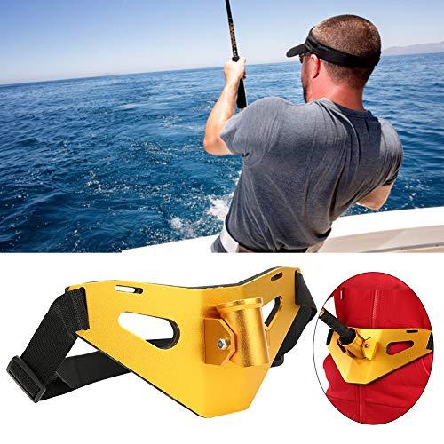 Cintura Cinturón de Pesca Ajustable Levántate Cinturón de Lucha contra la Pesca Aleación de Aluminio Gimbal Acolchado Soporte para caña de Pescado(Dorado)