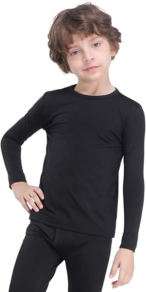 MANCYFIT Thermal Tops for Boys Fleece Lined Underwear Long Sleeve Undershirts Baselayer