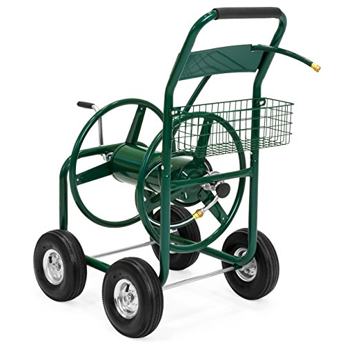 Best Choice Products Heavy Duty Outdoor Garden Steel 300ft Water Hose Reel Cart w/Basket, Green