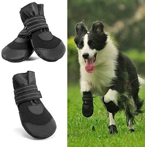 Hcpet Bottes de Protection, 4 Pièces Chaussures de Chien Semelle Souple antidérapante pour Petits à Moyens Chiens (4#)